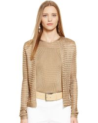 Ralph Lauren Black Label Open-knit Crewneck Cardigan - Lyst