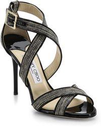 Jimmy Choo Lottie Glitter Strappy Sandals - Lyst