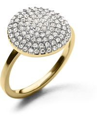 Michael Kors Golden Large Pave Disc Ring gold - Lyst