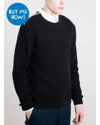 LAC - Bk Shoulder Zip Knitted Jumper - Lyst