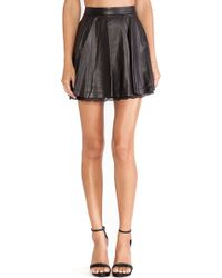 Alice + Olivia Blaise Lace Hem Leather Skirt - Lyst