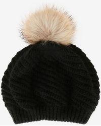 Annabelle New York - Holly Fur Pom Beanie Hat: Black - Lyst