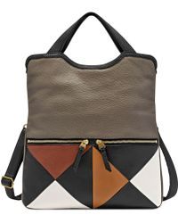 Fossil Erin Leather Multi Patch Tote - Lyst
