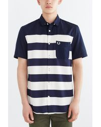 Fred Perry Pique Stripe Button-Down Shirt - Lyst