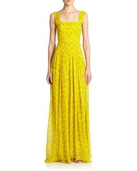 Diane von Furstenberg Lillie Pleated Silk Chiffon Gown - Lyst