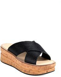 Belle By Sigerson Morrison Malmas Leather Platform Sandals black - Lyst