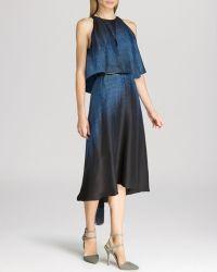 Halston Heritage Dress - Sleeveless Print Back Drape - Lyst