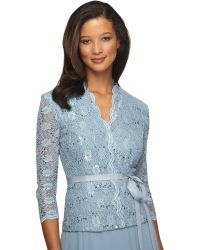Alex Evenings - Plus Belted Sequined Lace Blouse - Lyst