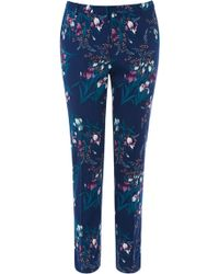 Oasis Irish Print Structured Trousers - Lyst