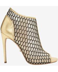 Jerome C. Rousseau - Honeycomb Mesh Bootie Sandal: Gold - Lyst