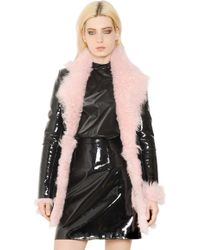 Christopher Kane Patent Leather And Shearling Fur Coat - Lyst
