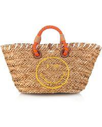 Anya Hindmarch Wink Small Straw Beach Bag - Lyst