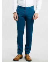 Topman Blue Indigo Ultra Skinny Trousers - Lyst