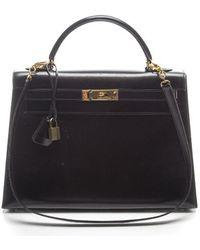 Hermes Preowned Black Rigide Box Calf Kelly 32cm Bag - Lyst