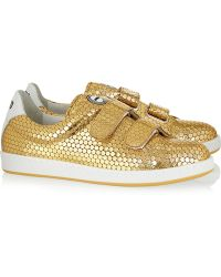 Kenzo Embossed Metallic Leather Sneakers - Lyst