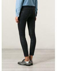 Current/Elliott Leopard Pattern Distressed Skinny Jeans - Lyst