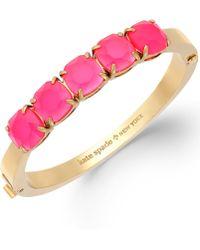 Kate Spade New York Gold-tone Pink Glass Stone Hinge Bangle Bracelet - Lyst
