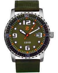 Izod - Watch, Unisex Green Canvas Strap 42Mm Izs3-6 Khaki - Lyst