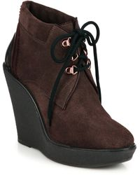 Burberry | Watkins Suede Lace-up Wedge Boots | Lyst