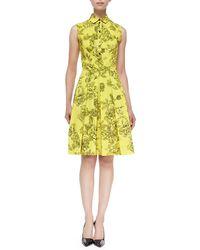 Lela Rose Floral-print Button-up Shirtdress - Lyst