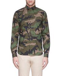 Valentino Camouflage Print Poplin Shirt - Lyst