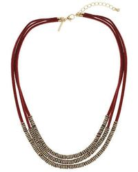 Topshop Suede And Ring Multi-Row Necklace - Lyst