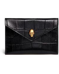 Alexander McQueen Skull Croc Embossed Leather Card Holder - Lyst