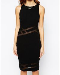TFNC Pencil Body-Conscious Dress With Mesh Inserts - Lyst