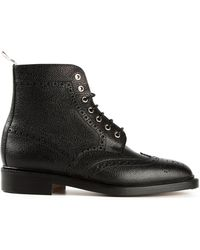 Thom Browne Black Brogue Boots - Lyst