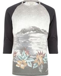 River Island Ecru Landscape Print Raglan Sleeve T-shirt - Lyst