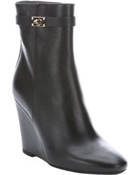 Fendi Black Leather Wedge Ankle Boots - Lyst