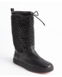 Christian Louboutin Black Calf Leather Studded Detail Drawstring 'Surlapony Flat' Boots - Lyst