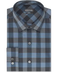 Kenneth Cole Reaction Slim-Fit Blue Check Performance Dress Shirt blue - Lyst