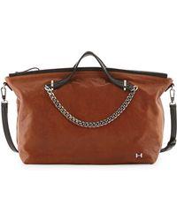 Halston Heritage Leather Chaintrim Satchel Bag - Lyst