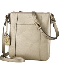 Lauren by Ralph Lauren Gold Aiden Crossbody - Lyst