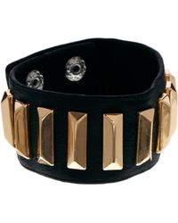 Mango - Leather Cuff with Oblong Stud Bracelet - Lyst