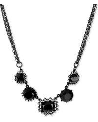 Betsey Johnson Blackplated Crystal Frontal Necklace - Lyst