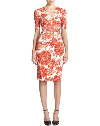 Altuzarra Patina Lace-Up Floral Sheath - Lyst