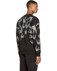 McQ by Alexander McQueen Black And Grey Swallow Silhouette Print Sweatshirt - Lyst