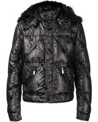 Versace Grey  Black Barocco Down Puffer Whood - Lyst
