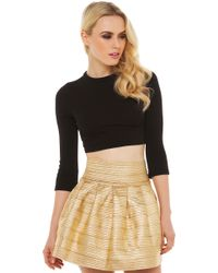 Akira Black Label In The Spirit Bandage Gold Skirt - Lyst