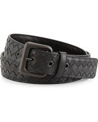 Bottega Veneta Intrecciato Woven Buckle Belt - Lyst