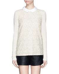 Tory Burch Gabriella Floral Lace Panel Front Top - Lyst