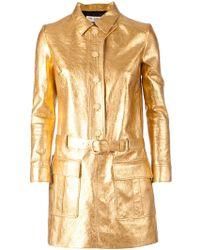 Saint Laurent Belted Coat Dress - Lyst