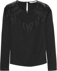 Diane Von Furstenberg Nadia Lace-paneled Silk Top - Lyst