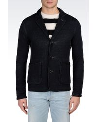 Armani Jeans Singlebreasted Heather Jersey Jacket with Leather Details - Lyst