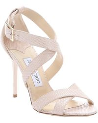 Jimmy Choo Nude Croc-Embossed Leather 'Lottie' Strappy Sandals - Lyst