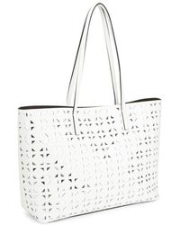 MILLY - Women'S Palmetto Leather Perforated Tote Bag - Lyst
