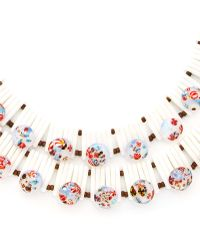 Carole Tanenbaum - 1950S White Double Strand Necklace With Speckled Blue Glass Beads - Lyst