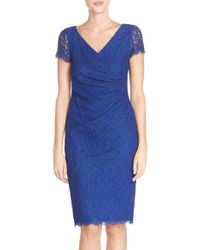Adrianna Papell | Ruched Lace Sheath Dress | Lyst